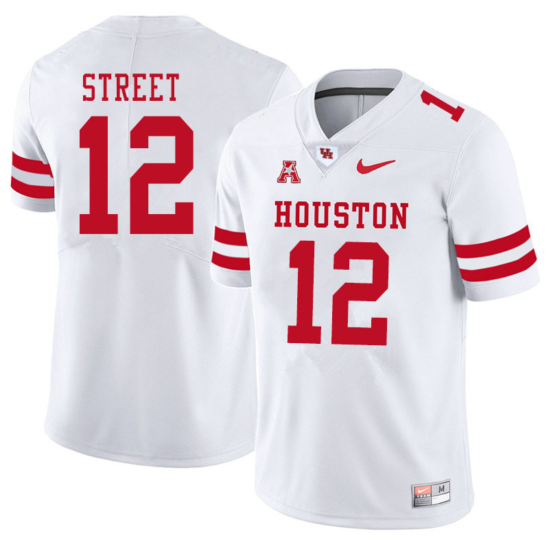 Men #12 Ke'Andre Street Houston Cougars College Football Jerseys Sale-White