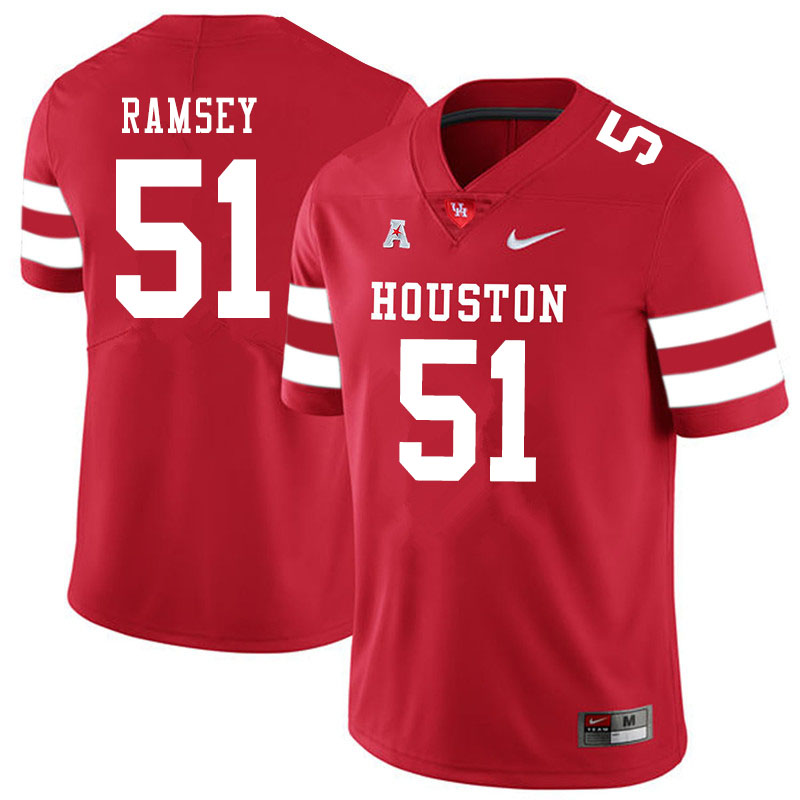 Men #51 Kyle Ramsey Houston Cougars College Football Jerseys Sale-Red