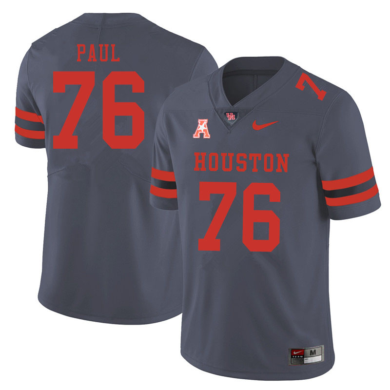 Men #76 Patrick Paul Houston Cougars College Football Jerseys Sale-Gray