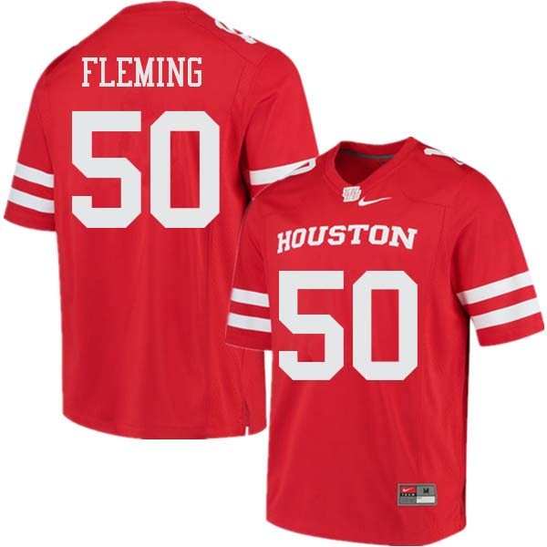 Men #50 Aymiel Fleming Houston Cougars College Football Jerseys Sale-Red