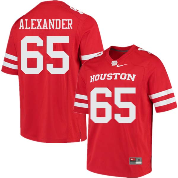 Men #65 Bo Alexander Houston Cougars College Football Jerseys Sale-Red