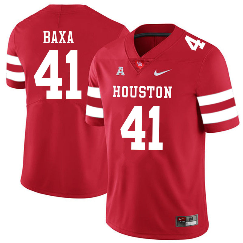 Men #41 Bubba Baxa Houston Cougars College Football Jerseys Sale-Red