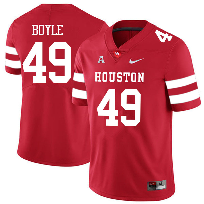 Men #49 Colby Boyle Houston Cougars College Football Jerseys Sale-Red
