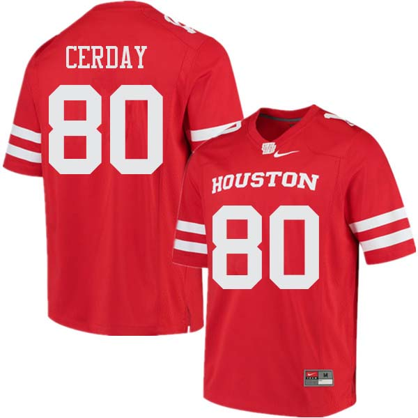 Men #80 Colton Cerday Houston Cougars College Football Jerseys Sale-Red