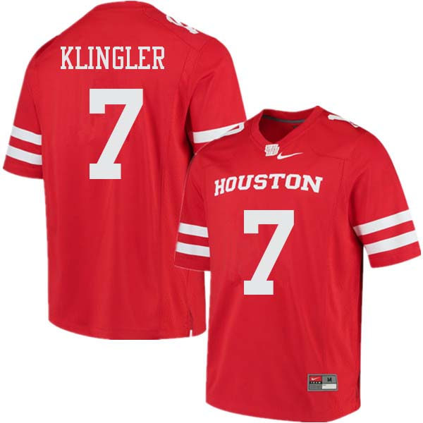Men #7 David Klingler Houston Cougars College Football Jerseys Sale-Red