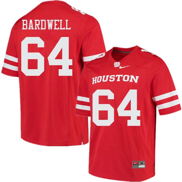 Men #64 Dennis Bardwell Houston Cougars College Football Jerseys Sale-Red
