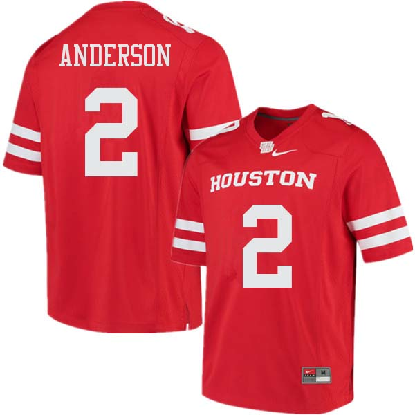 Men #2 Deontay Anderson Houston Cougars College Football Jerseys Sale-Red