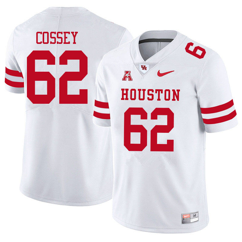 Men #62 Gabe Cossey Houston Cougars College Football Jerseys Sale-White