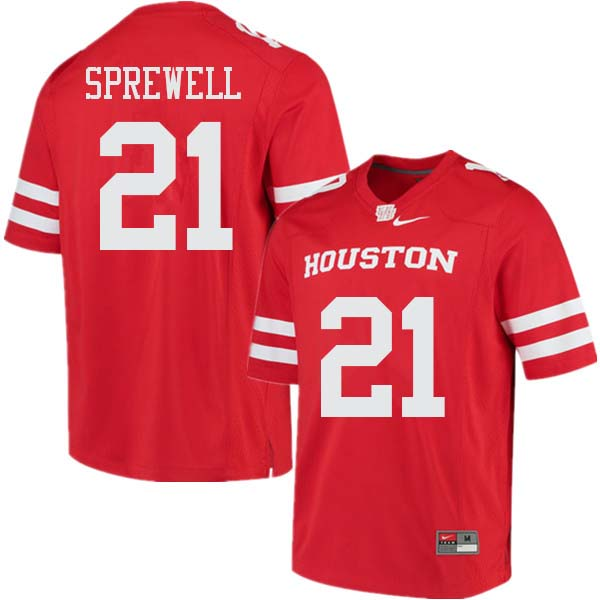 Men #21 Gleson Sprewell Houston Cougars College Football Jerseys Sale-Red