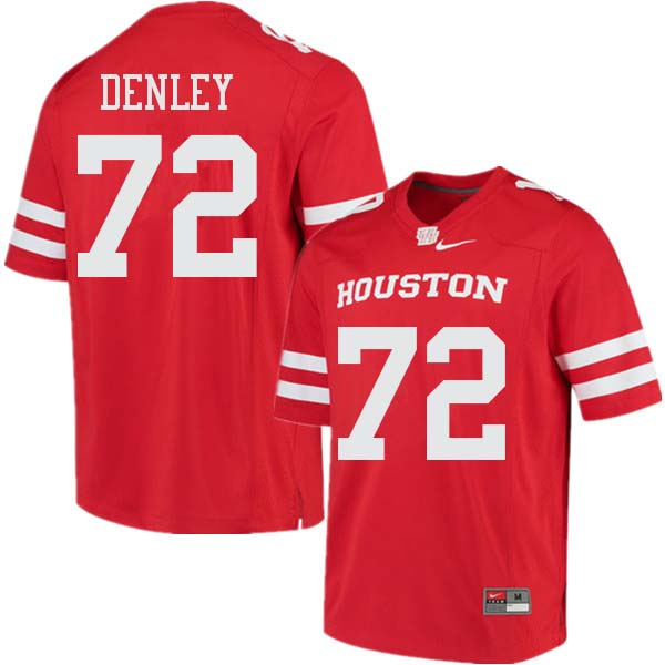 Men #72 Mason Denley Houston Cougars College Football Jerseys Sale-Red