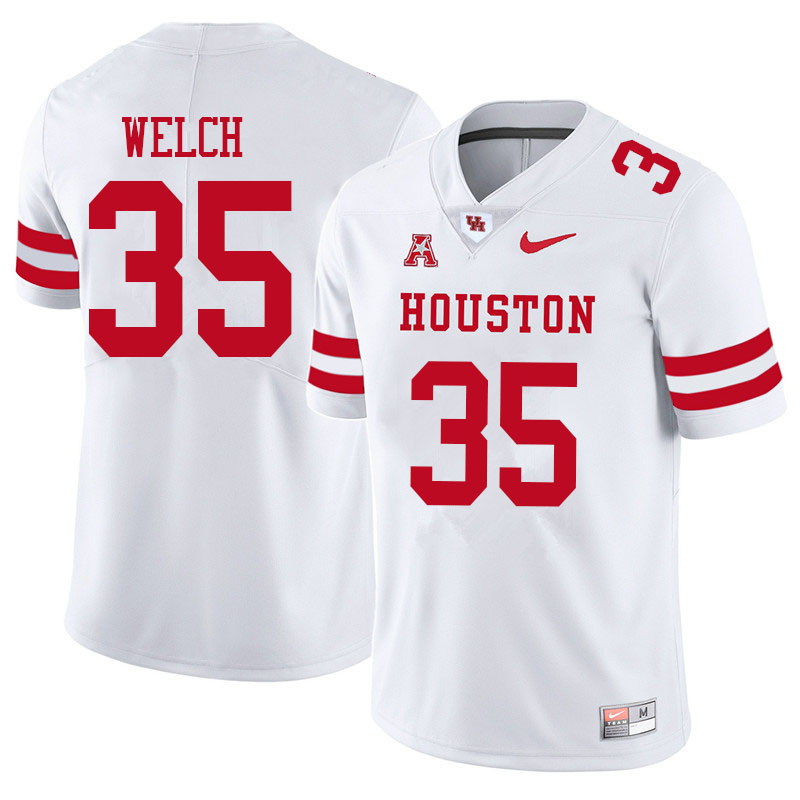 Men #35 Mike Welch Houston Cougars College Football Jerseys Sale-White