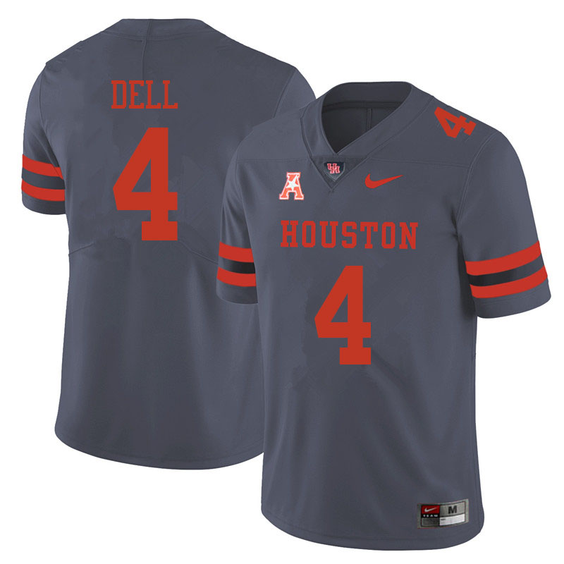 Men #4 Nathaniel Dell Houston Cougars College Football Jerseys Sale-Gray
