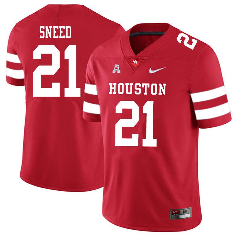 Men #21 Stacy Sneed Houston Cougars College Football Jerseys Sale-Red