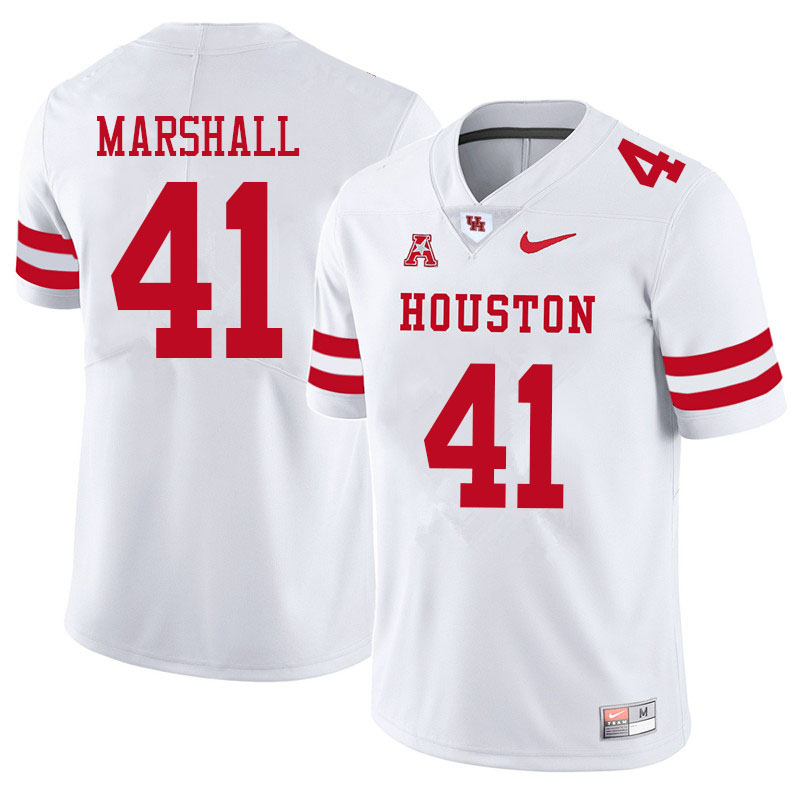Men #41 T.J. Marshall Houston Cougars College Football Jerseys Sale-White