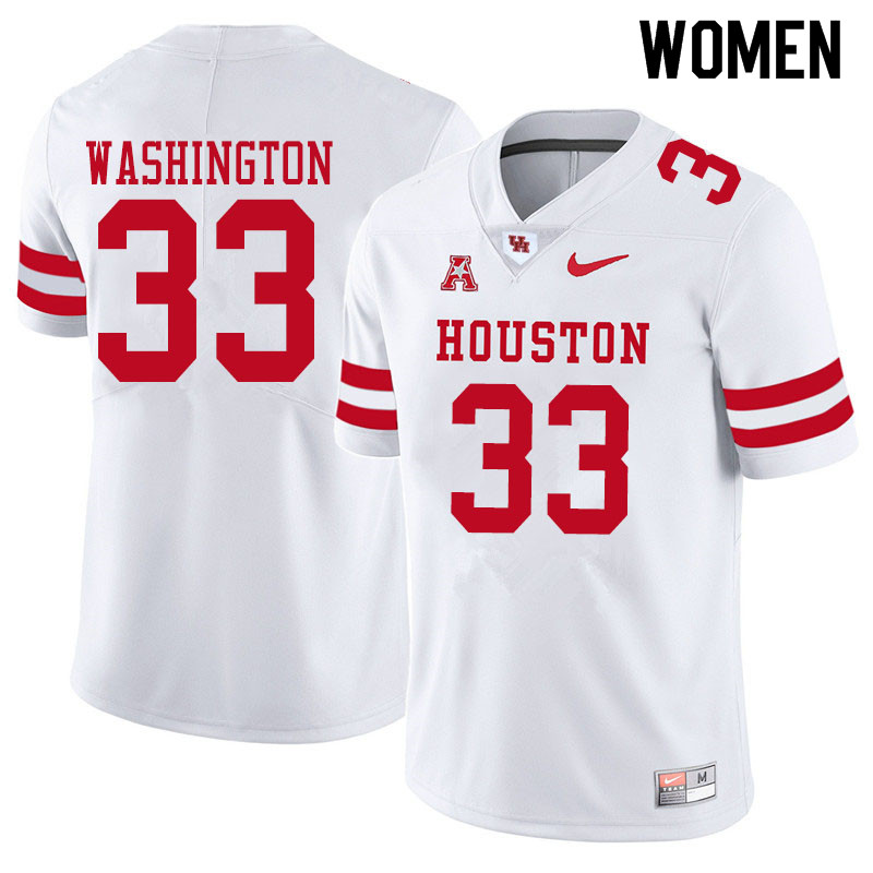 Women #33 Bryce Washington Houston Cougars College Football Jerseys Sale-White