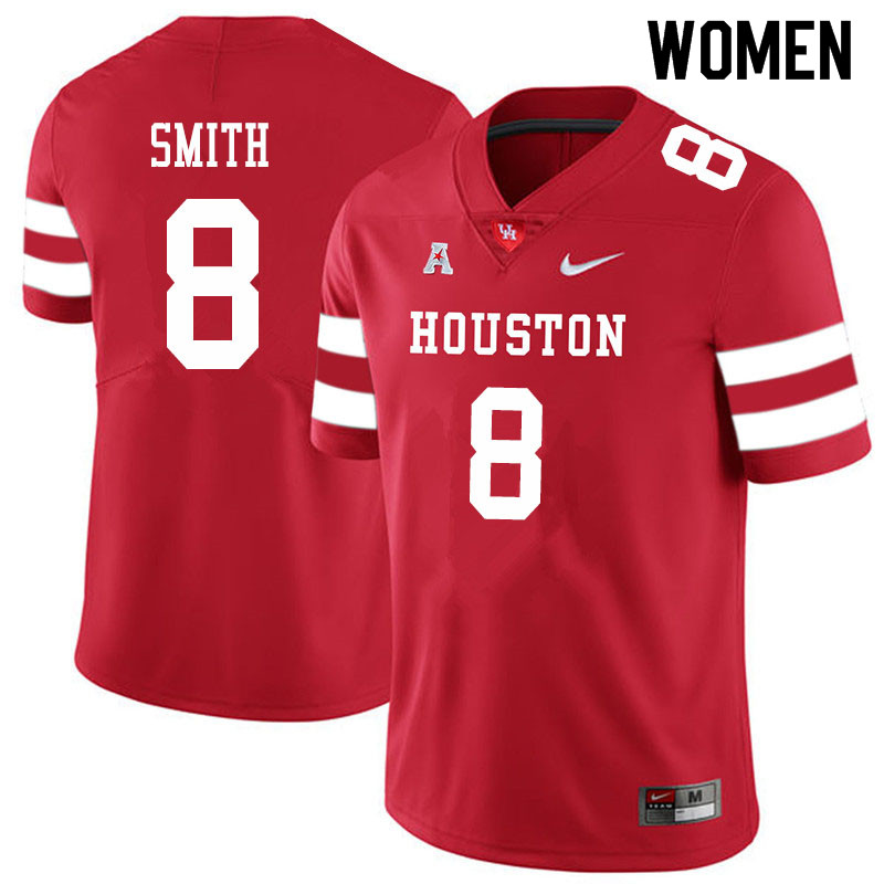 Women #8 Chandler Smith Houston Cougars College Football Jerseys Sale-Red