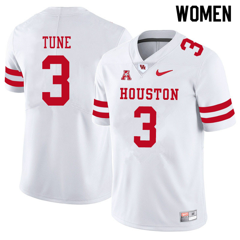 Women #3 Clayton Tune Houston Cougars College Football Jerseys Sale-White
