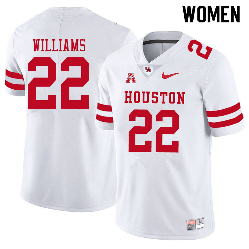 Women #22 Damarion Williams Houston Cougars College Football Jerseys Sale-White