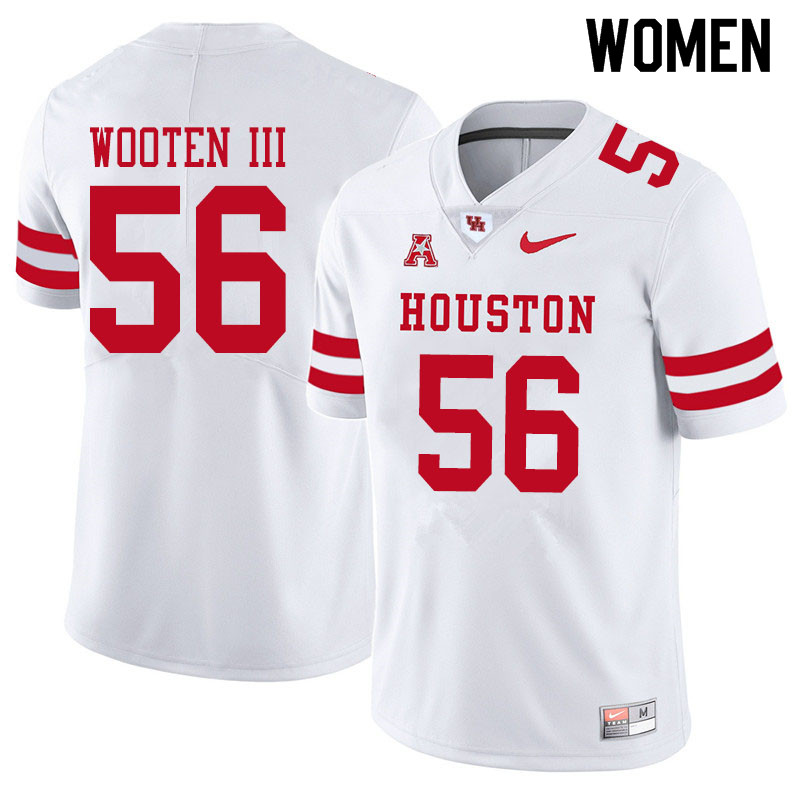 Women #56 Dixie Wooten III Houston Cougars College Football Jerseys Sale-White