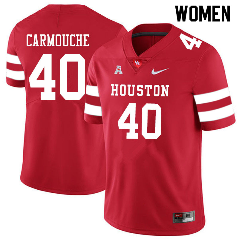 Women #40 Jordan Carmouche Houston Cougars College Football Jerseys Sale-Red