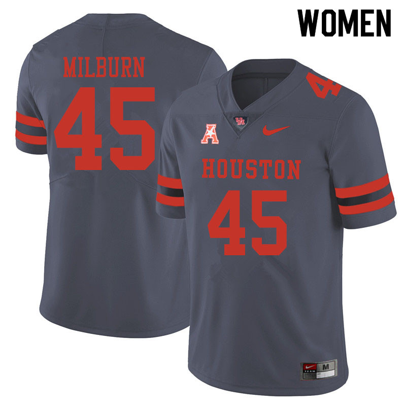 Women #45 Jordan Milburn Houston Cougars College Football Jerseys Sale-Gray