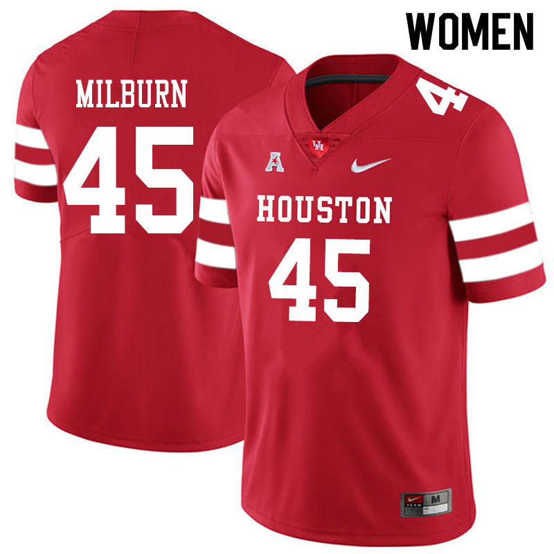 Women #45 Jordan Milburn Houston Cougars College Football Jerseys Sale-Red
