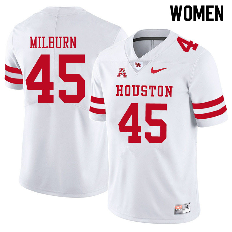 Women #45 Jordan Milburn Houston Cougars College Football Jerseys Sale-White