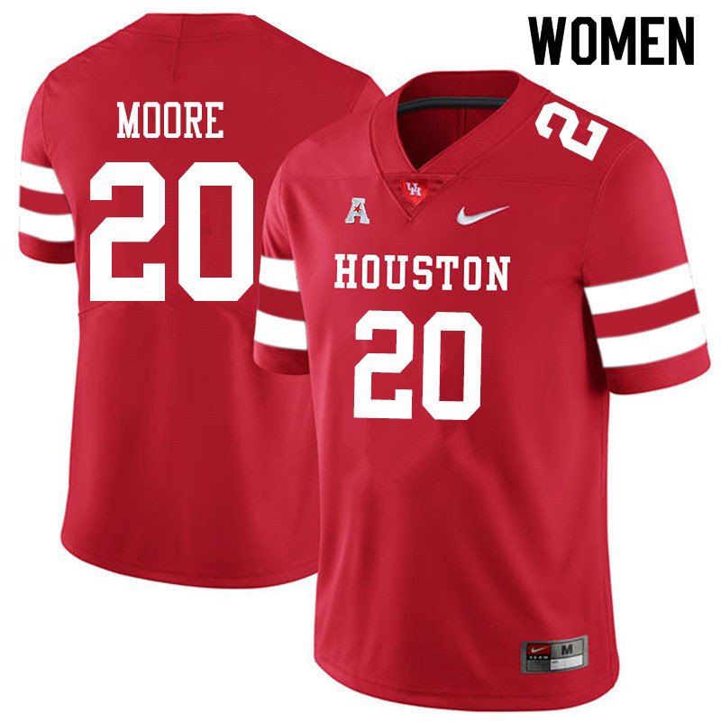 Women #20 Jordan Moore Houston Cougars College Football Jerseys Sale-Red