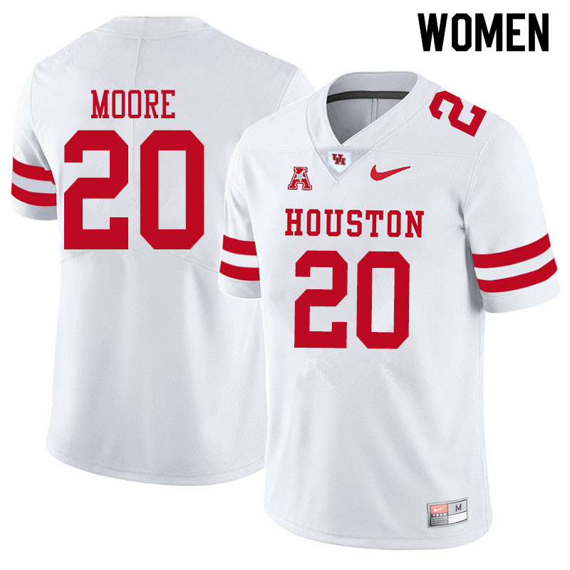 Women #20 Jordan Moore Houston Cougars College Football Jerseys Sale-White