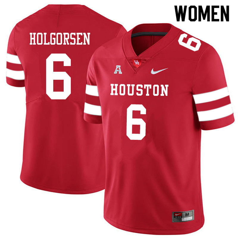 Women #6 Logan Holgorsen Houston Cougars College Football Jerseys Sale-Red