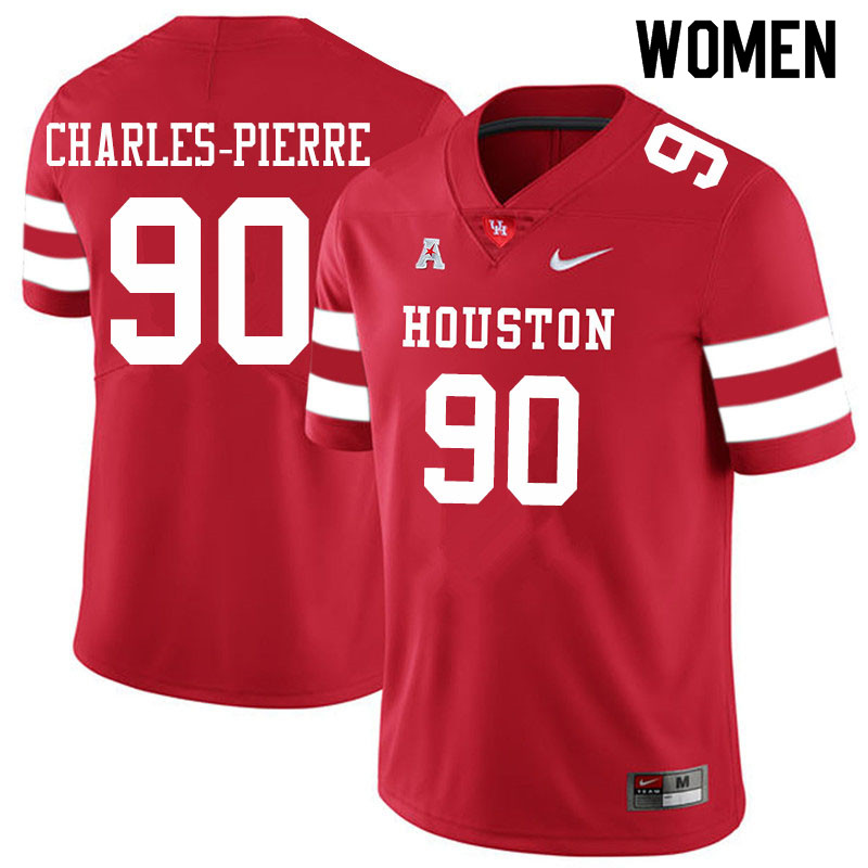 Women #90 Olivier Charles-Pierre Houston Cougars College Football Jerseys Sale-Red