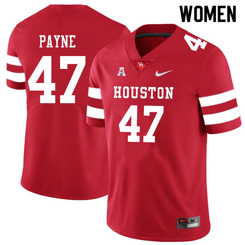 Women #47 Taures Payne Houston Cougars College Football Jerseys Sale-Red