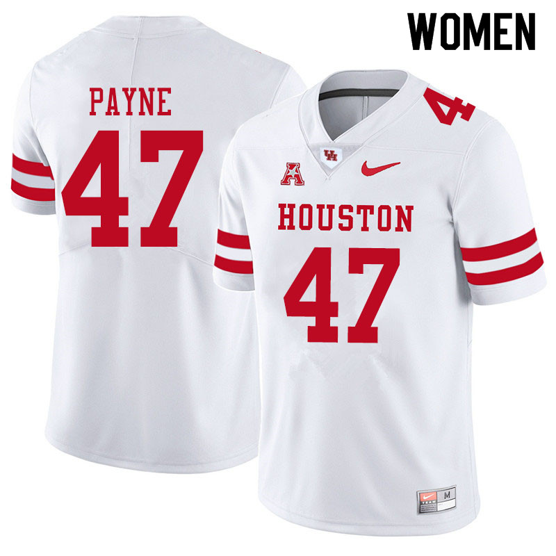 Women #47 Taures Payne Houston Cougars College Football Jerseys Sale-White