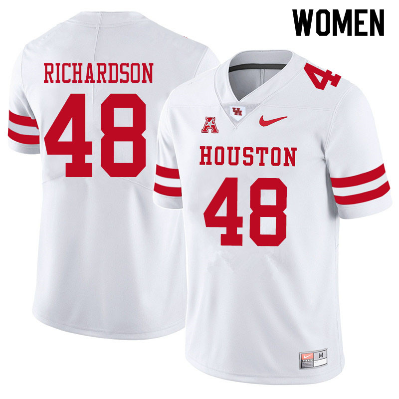 Women #48 Torrey Richardson Houston Cougars College Football Jerseys Sale-White
