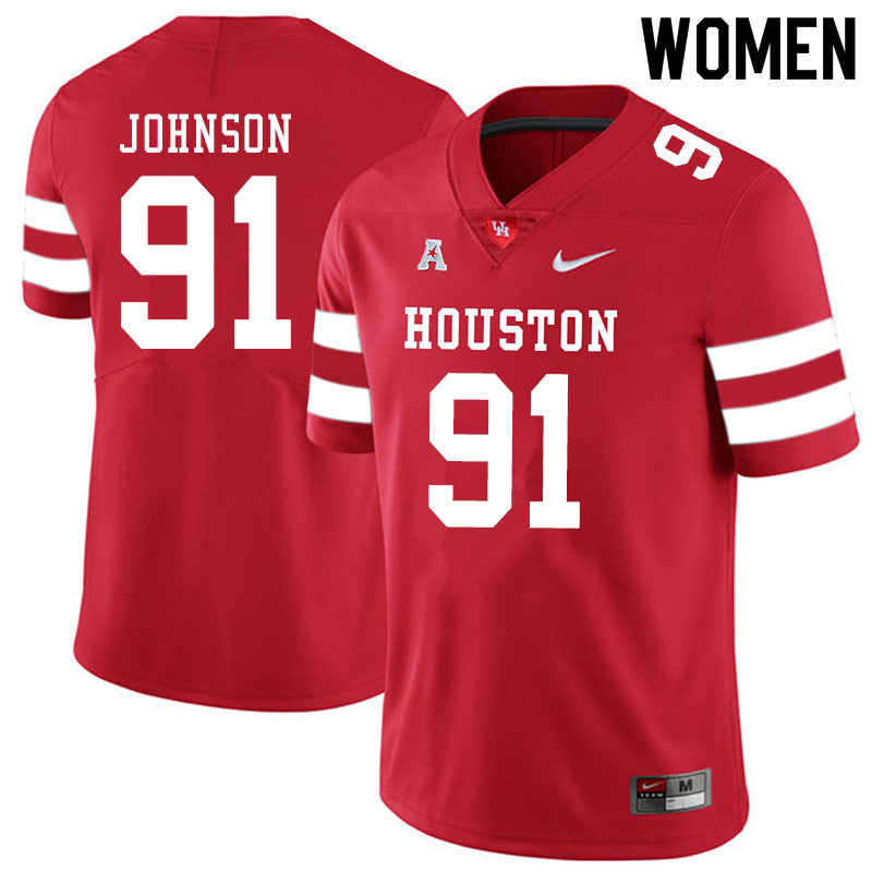 Women #91 Benil Johnson Houston Cougars College Football Jerseys Sale-Red