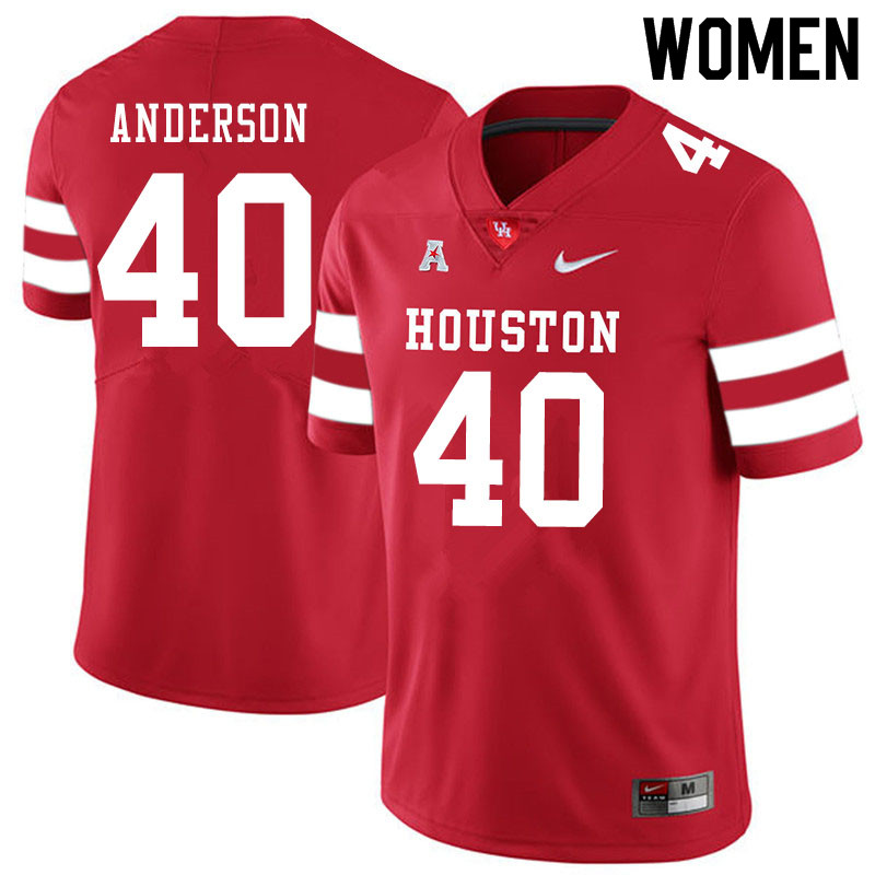 Women #40 Brody Anderson Houston Cougars College Football Jerseys Sale-Red