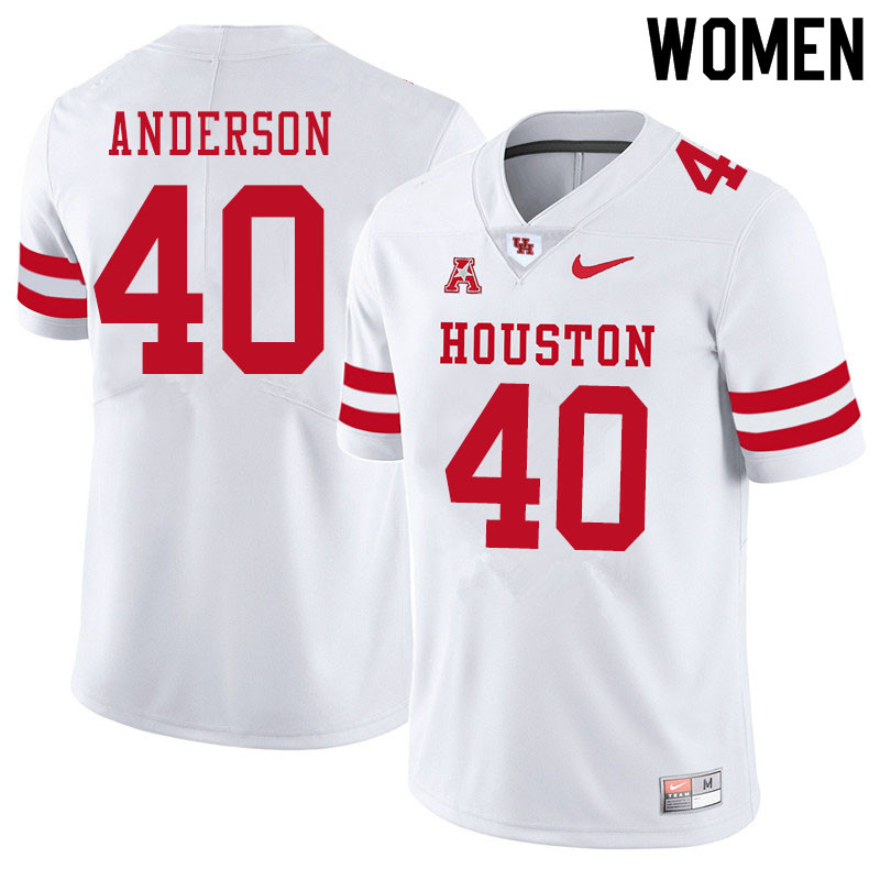 Women #40 Brody Anderson Houston Cougars College Football Jerseys Sale-White