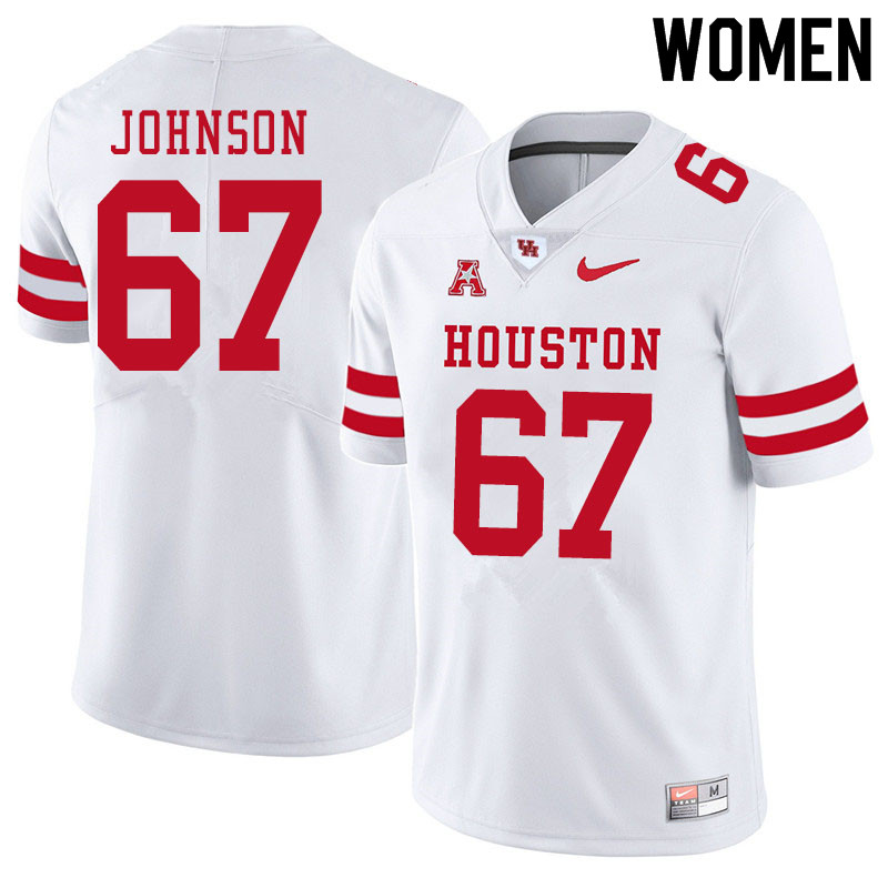 Women #67 Cam'Ron Johnson Houston Cougars College Football Jerseys Sale-White