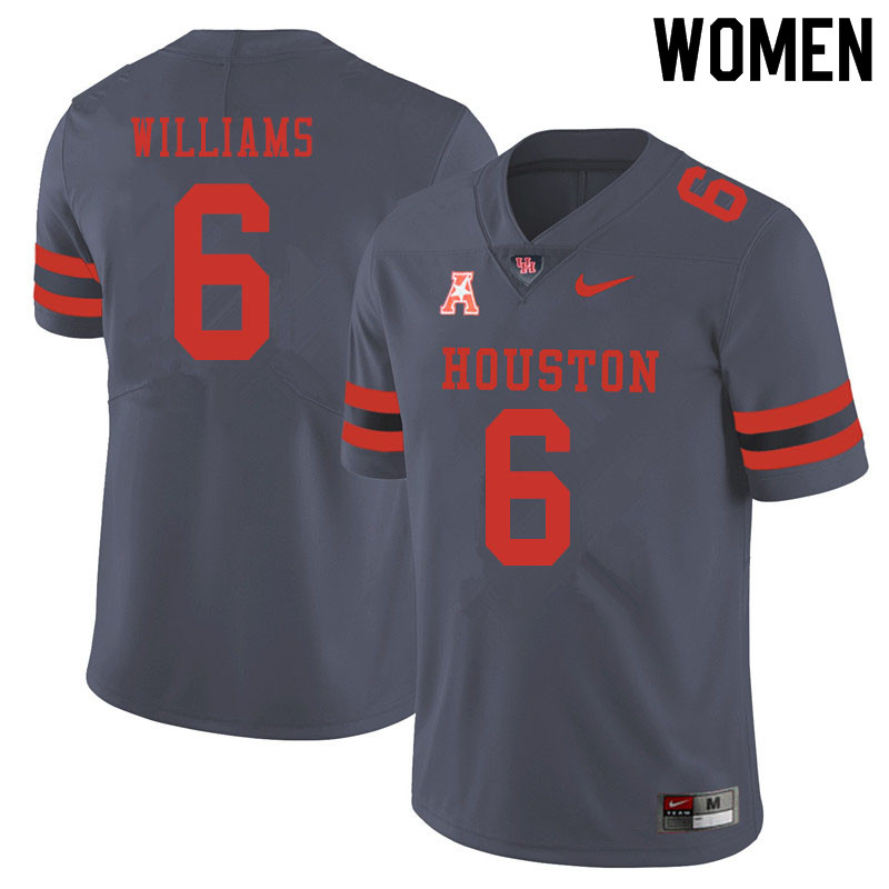 Women #6 Damarion Williams Houston Cougars College Football Jerseys Sale-Gray
