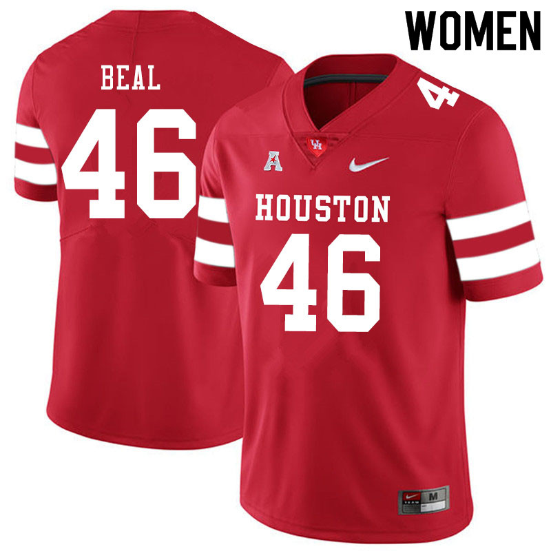 Women #46 Davis Beal Houston Cougars College Football Jerseys Sale-Red