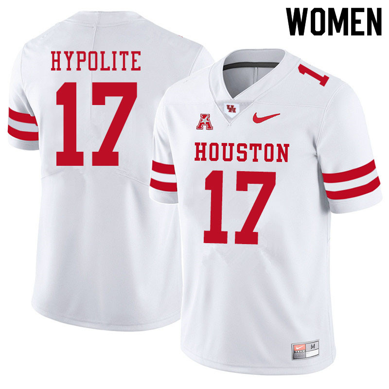 Women #17 Hasaan Hypolite Houston Cougars College Football Jerseys Sale-White
