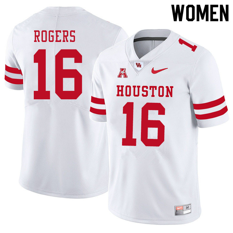 Women #16 Jayce Rogers Houston Cougars College Football Jerseys Sale-White