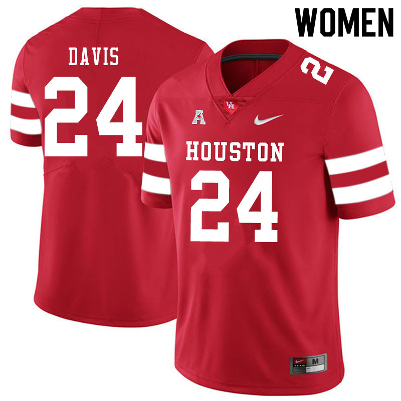 Women #24 Jaylen Davis Houston Cougars College Football Jerseys Sale-Red