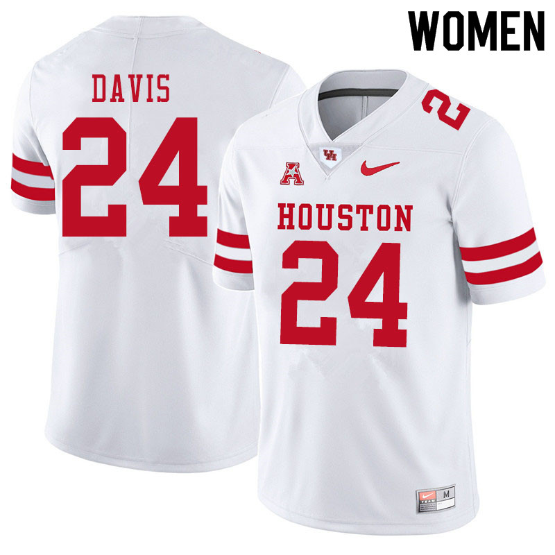 Women #24 Jaylen Davis Houston Cougars College Football Jerseys Sale-White