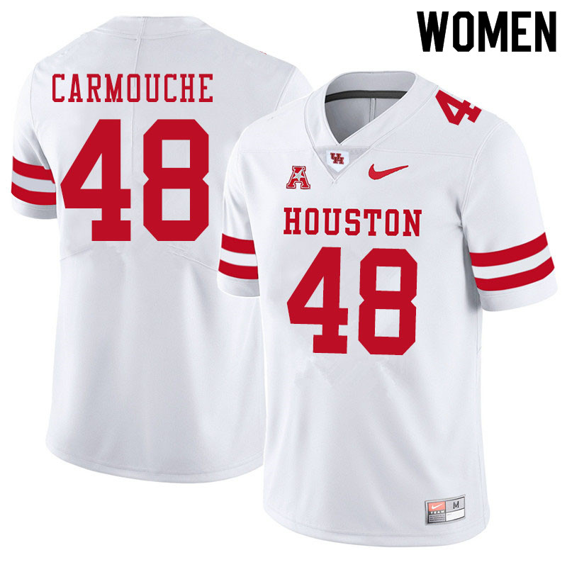 Women #48 Jordan Carmouche Houston Cougars College Football Jerseys Sale-White