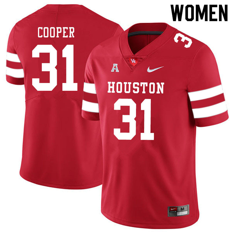 Women #31 Jordan Cooper Houston Cougars College Football Jerseys Sale-Red