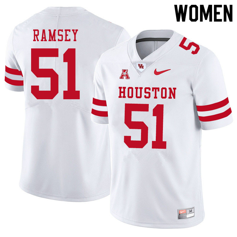 Women #51 Kyle Ramsey Houston Cougars College Football Jerseys Sale-White