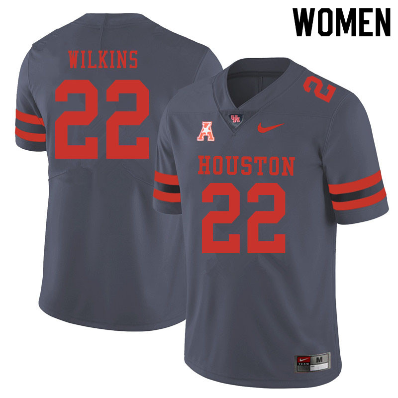 Women #22 Laine Wilkins Houston Cougars College Football Jerseys Sale-Gray