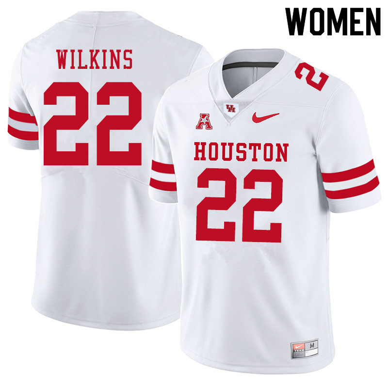 Women #22 Laine Wilkins Houston Cougars College Football Jerseys Sale-White