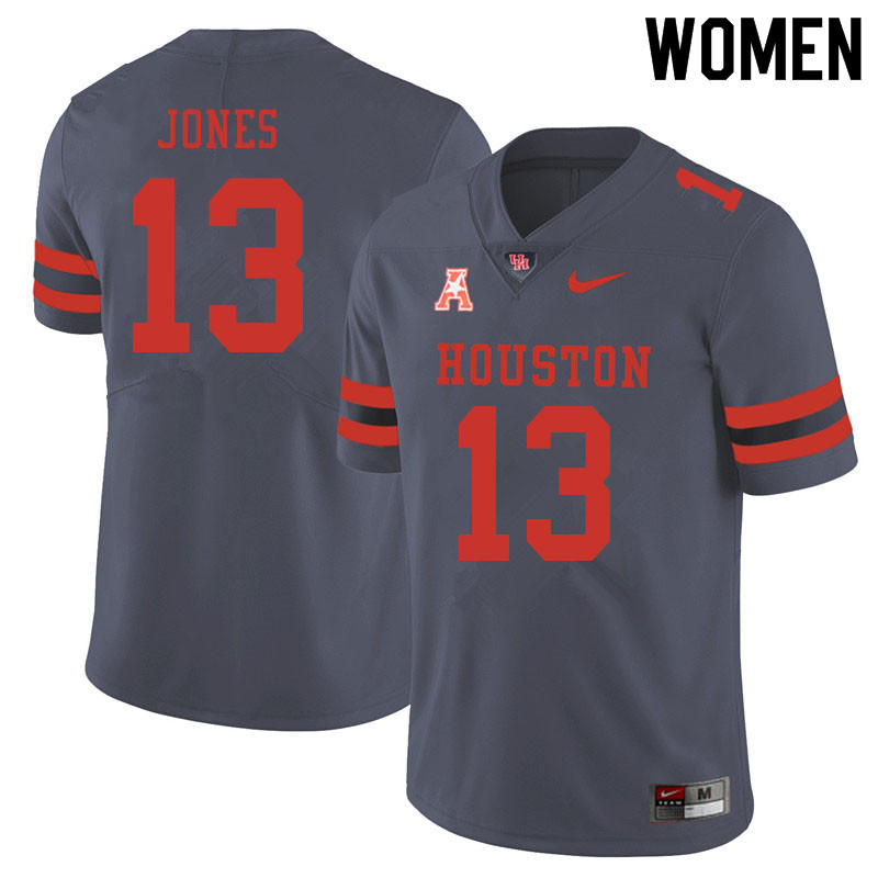 Women #13 Marcus Jones Houston Cougars College Football Jerseys Sale-Gray